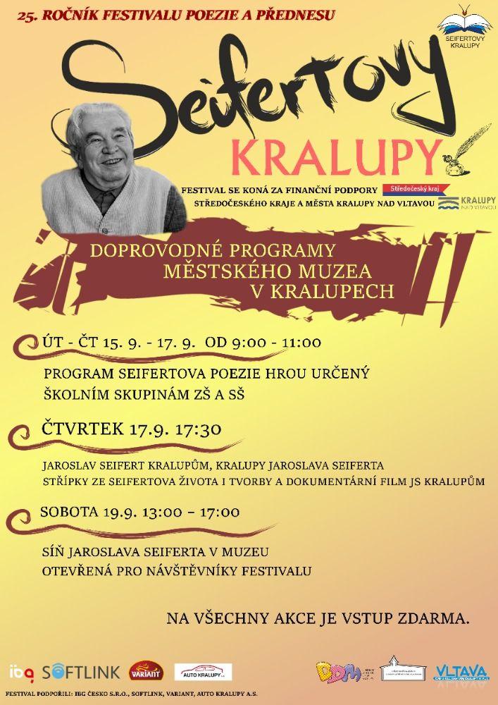 """Doprovodný program pro školy k festivalu poezie a přednesu """"Seifertovy Kralupy""""."""