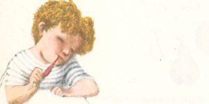 """Ilustrace J.Trnky k básni J.Seiferta """"První dopis mamince"""""""